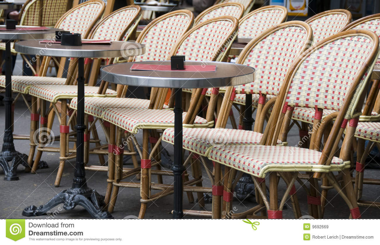 paris cafe chairs diy chair covers for weddings outdoor france stock image of sidewalk