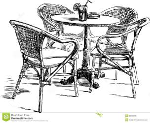 cafe drawing outdoor vector furniture street illustration preview drink dreamstime
