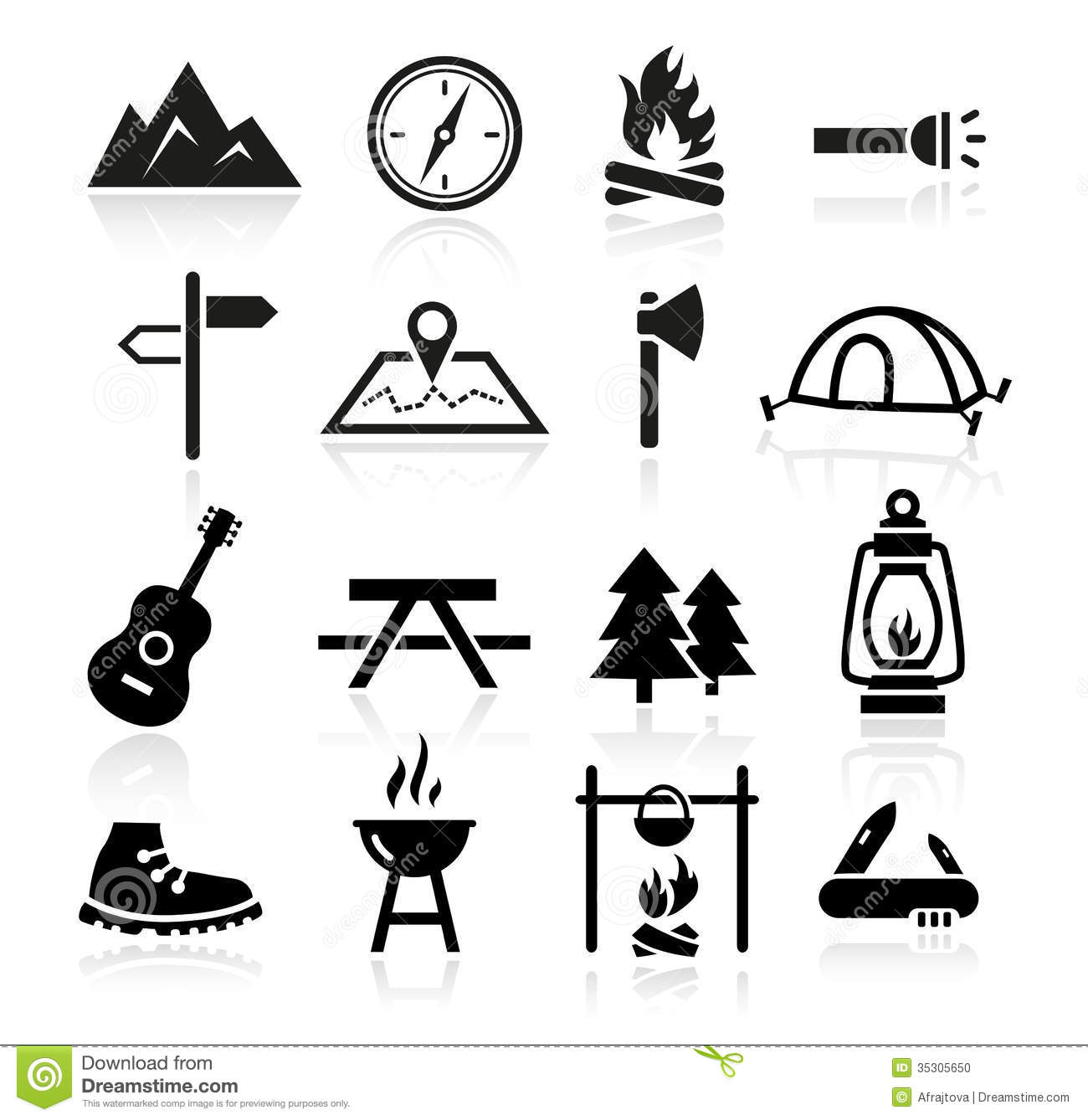 Outdoor Camping Icons Stock Vector Illustration Of