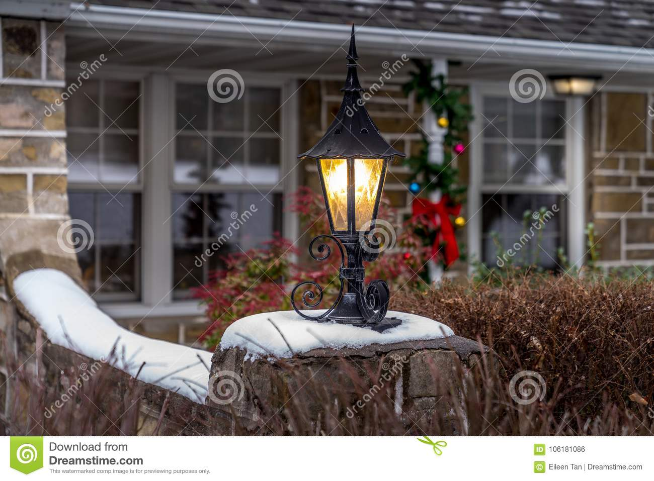 Outdoor Christmas Decorations And Lantern Stock Photo Image Of Road Tree 106181086