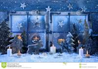 Outdoor Christmas Window Decoration In Blue With Wood And ...