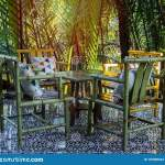 Outdoor Dining Table Furniture Set Made By Bamboo Stock Photo Image Of Patio Chair 157805244