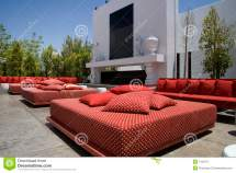 Outdoor Exclusive Restaurant And Club Lounge Area Stock
