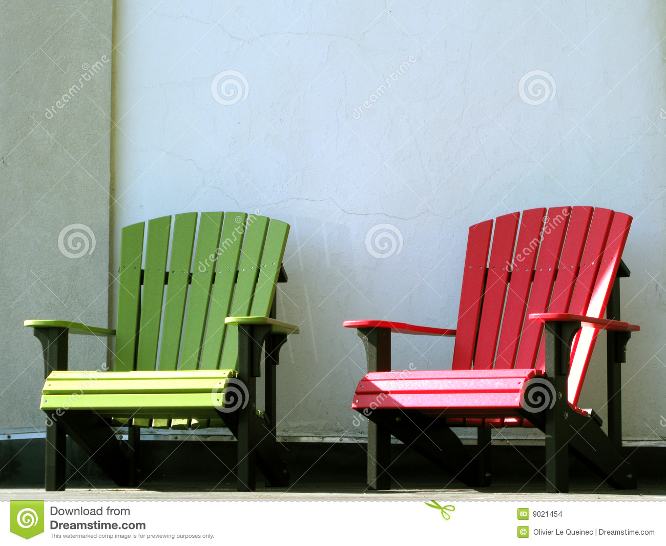 Outdoor Furniture Adirondack Chairs On House Porch Stock