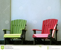 Outdoor Furniture Adirondack Chairs House Porch Stock