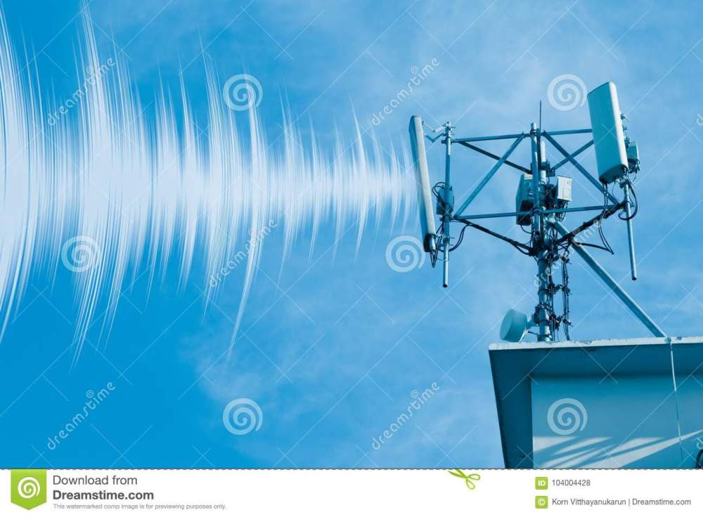 medium resolution of outdoor 4g wireless telephone radio cell site with wave data effect