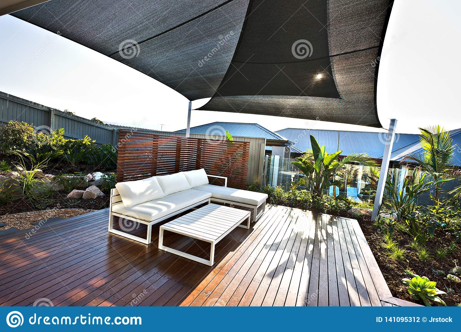 https www dreamstime com outdoor patio area white benches wooden floor sunny day which also covered hut roof over fences glass image141095312