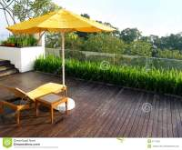 Outdoor patio in wood deck stock photo. Image of ...