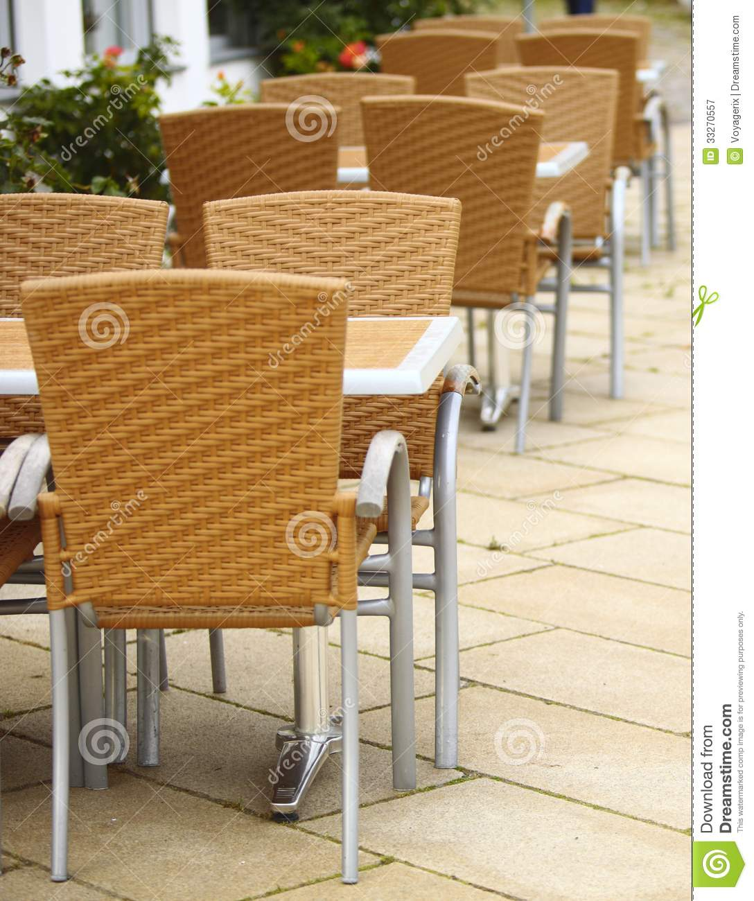 Outdoor Cafe Chairs Outdoor Restaurant Cafe Chairs With Table Stock Image