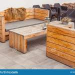 Outdoor Restaurant Terrace With Wooden Furniture Stock Photo Image Of Iceland Exterior 153790288