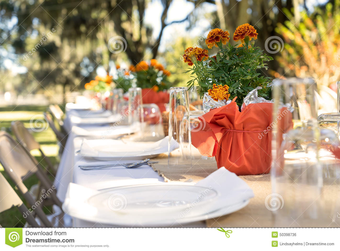 Outdoor table set for meal stock photo Image of food