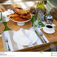 Restaurant Chairs For Less Bar Height Adirondack Outdoor Table Setting Two Stock Photos - Image: 24905923