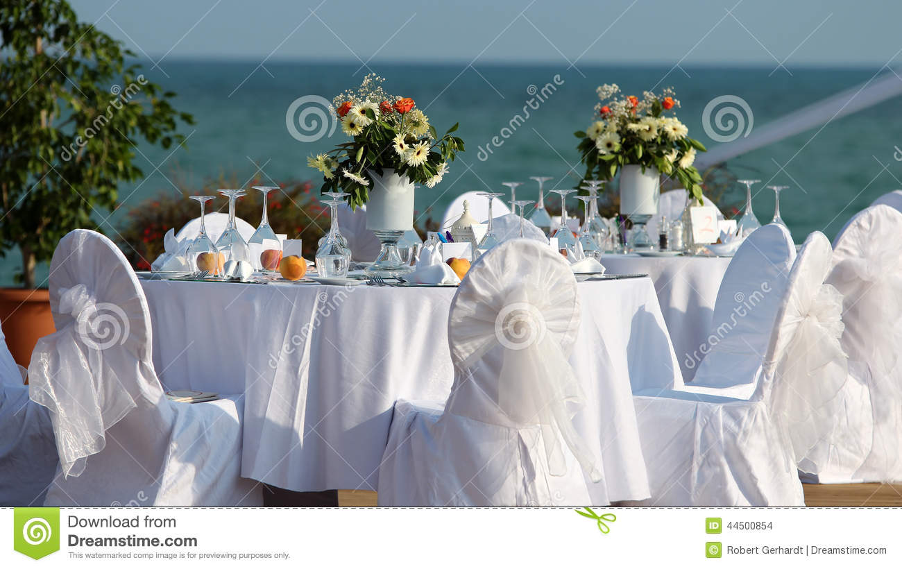 Outdoor Table Setting At Wedding Reception By The Sea Stock Photo  Image 44500854