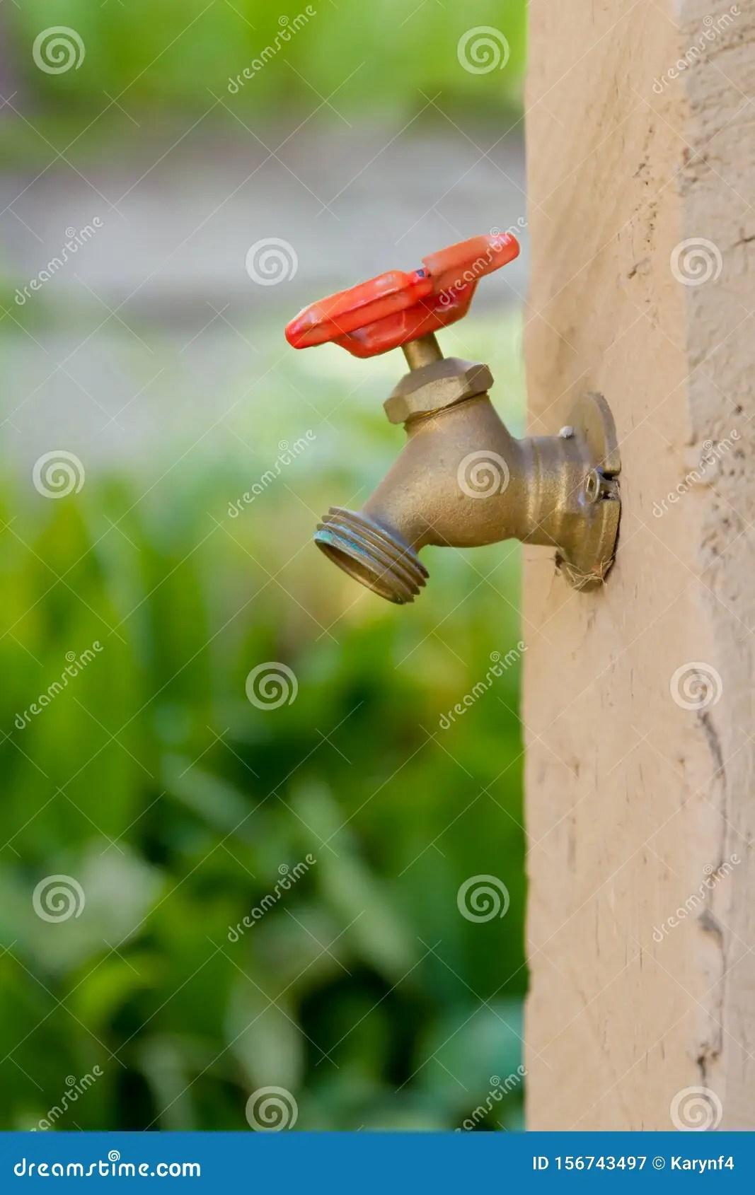 https www dreamstime com outdoor tap to water dry gardens off garden outdoor faucet red handle image156743497