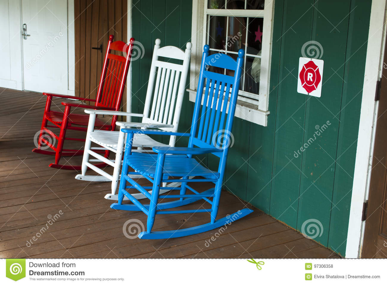 outdoor wooden rocking chairs white swinging baby chair 3 in red and blue