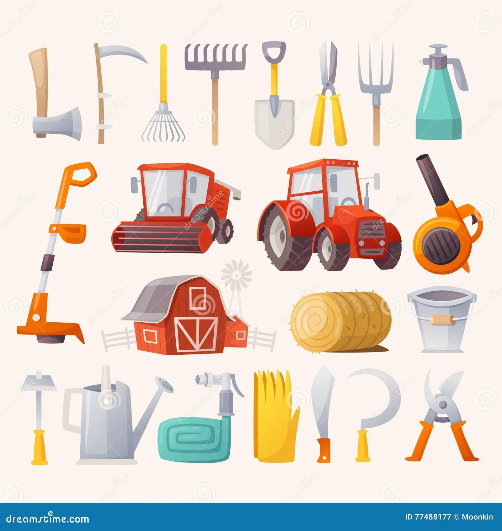 Outils De Ferme Et Machines Agricoles Illustration De