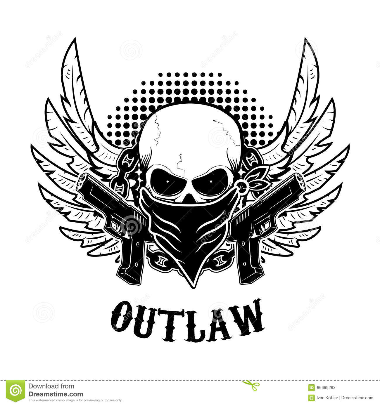 Outlaw T Shirt Print Design Template Stock Vector