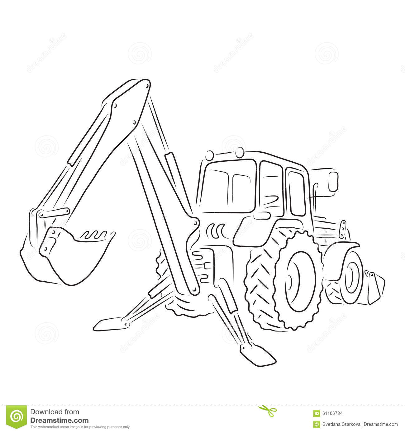 Outline Of Backhoe Loader, Vector Illustration Stock