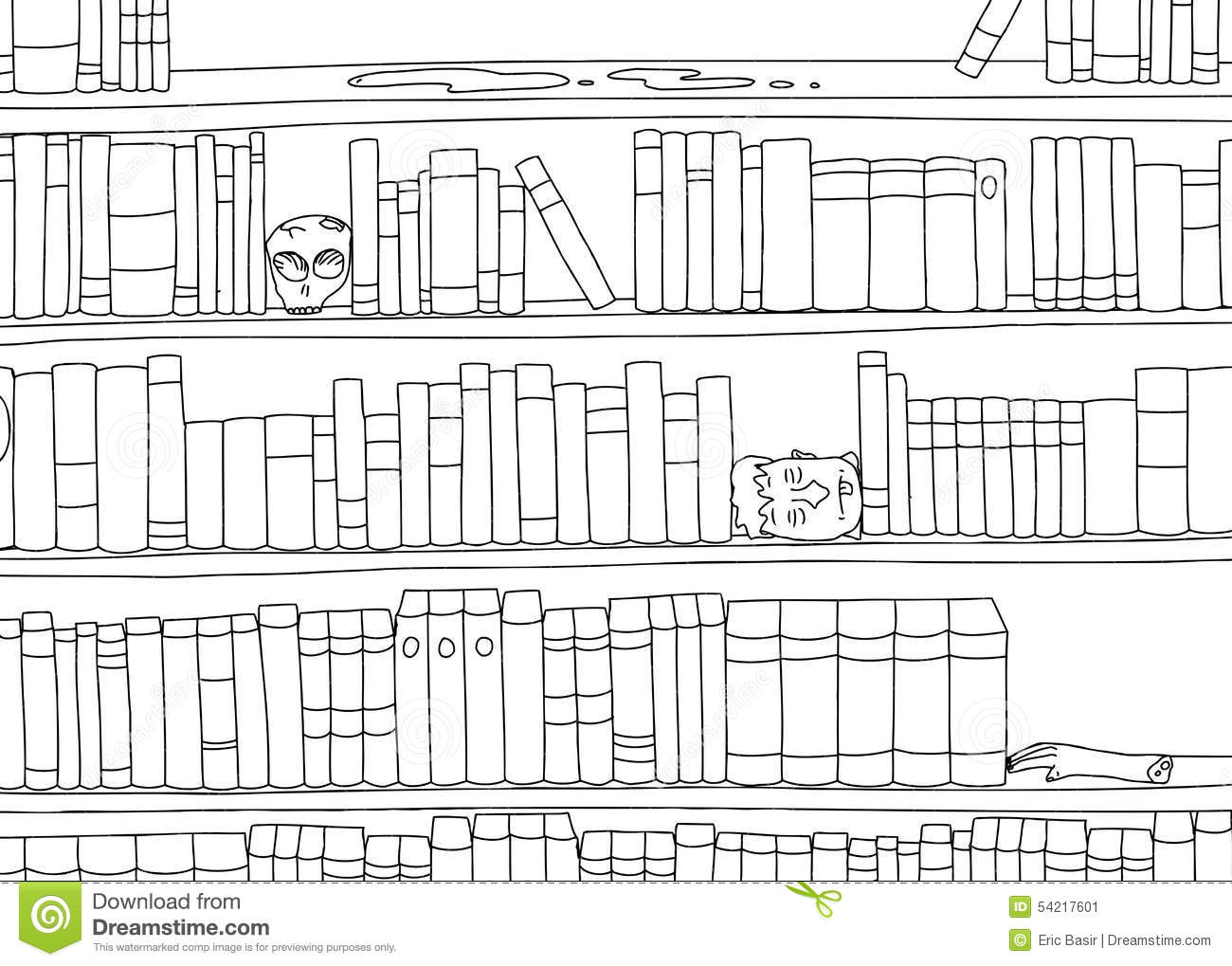 Outline Of Bizarre Bookshelf Stock Illustration