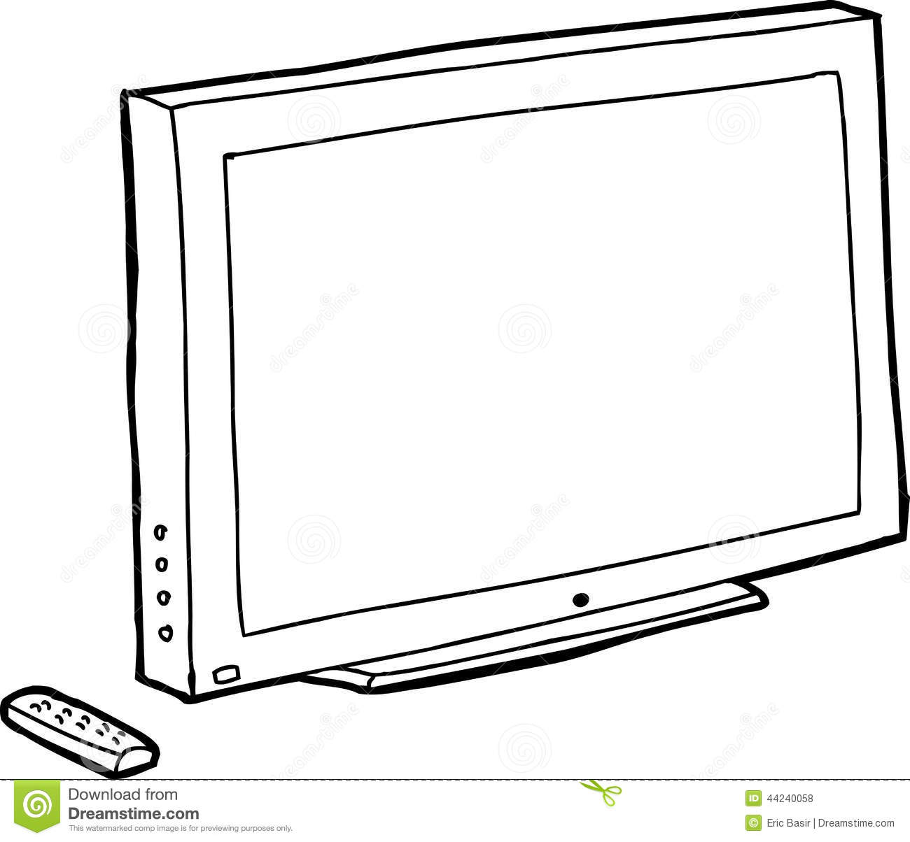 Outline Black Tv Stock Vector Image Of Drawn Remote