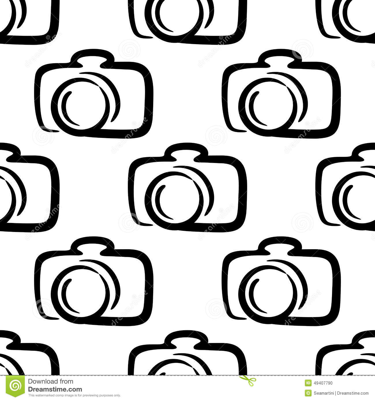 Outline Camera Seamless Pattern Background Stock Vector