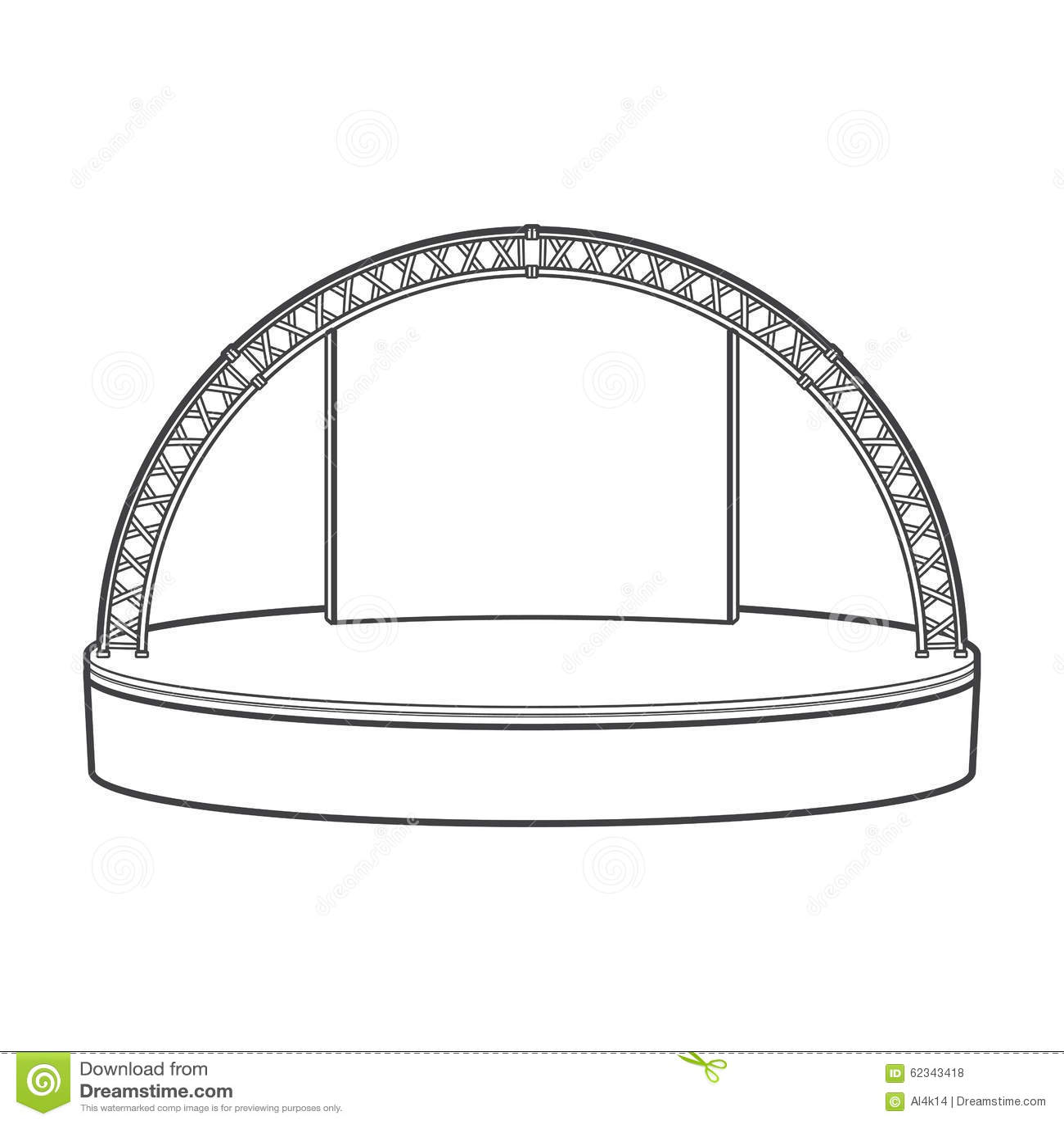 proscenium stage diagram box 4 way round wiring outline dais metal truss illustration stock
