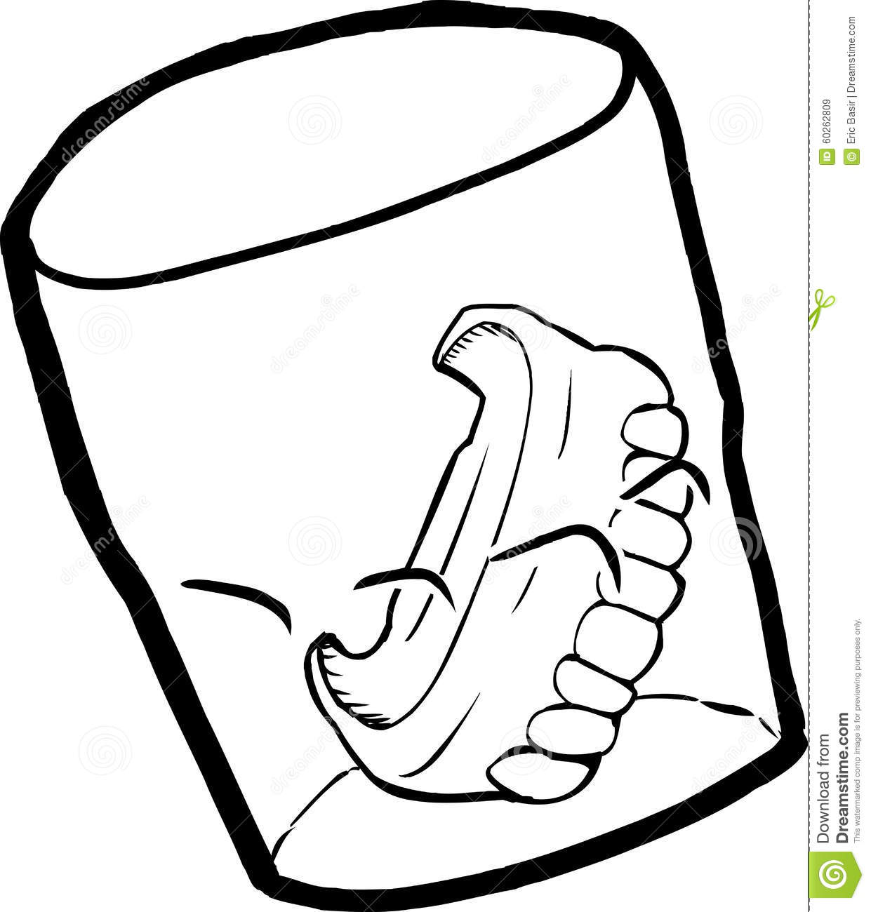 Outline of Dentures in Cup stock illustration