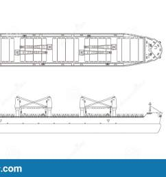 outline drawing of cargo ship on a white background top side and front view [ 1600 x 890 Pixel ]