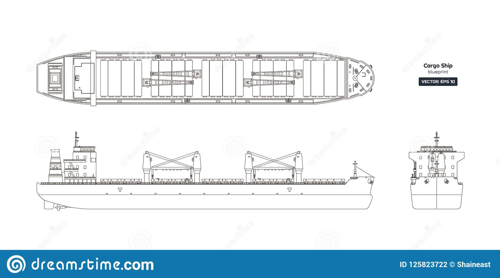 hight resolution of outline drawing of cargo ship on a white background top side and front view