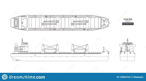 small resolution of outline drawing of cargo ship on a white background top side and front view