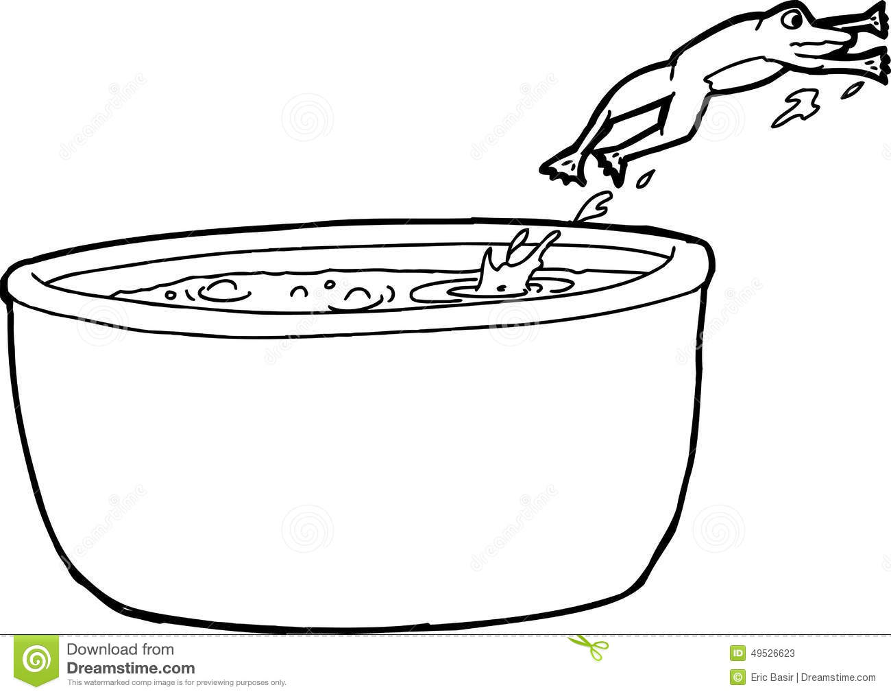 Outline Drawing Of Frog Jumping Out Of Pot Stock