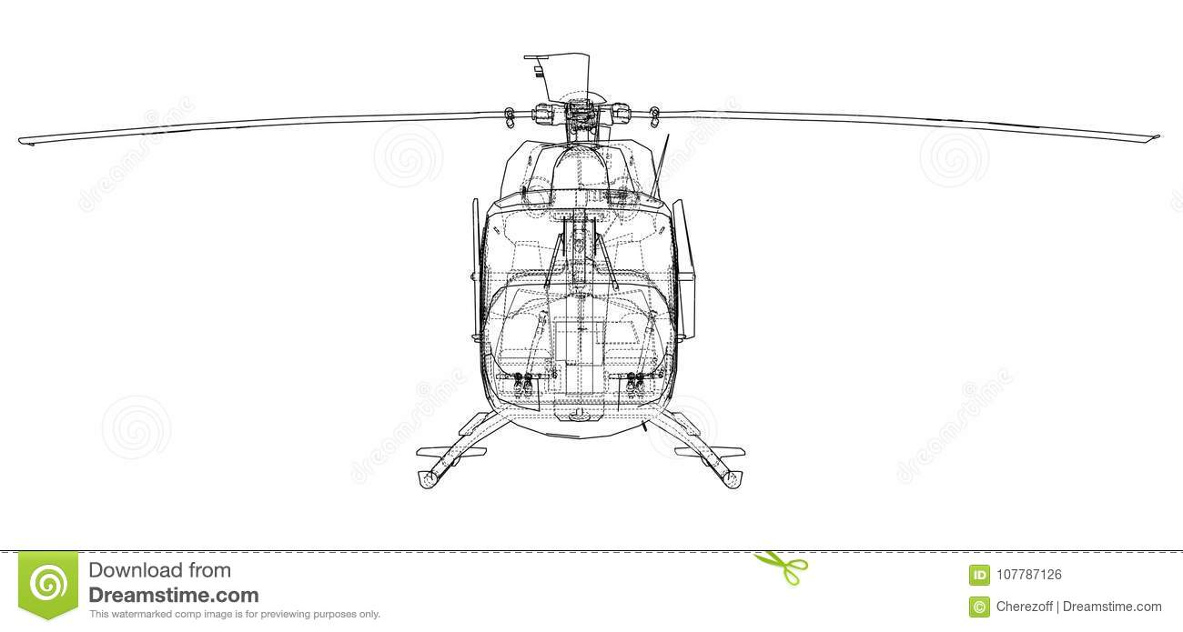 hight resolution of outline drawing of helicopter