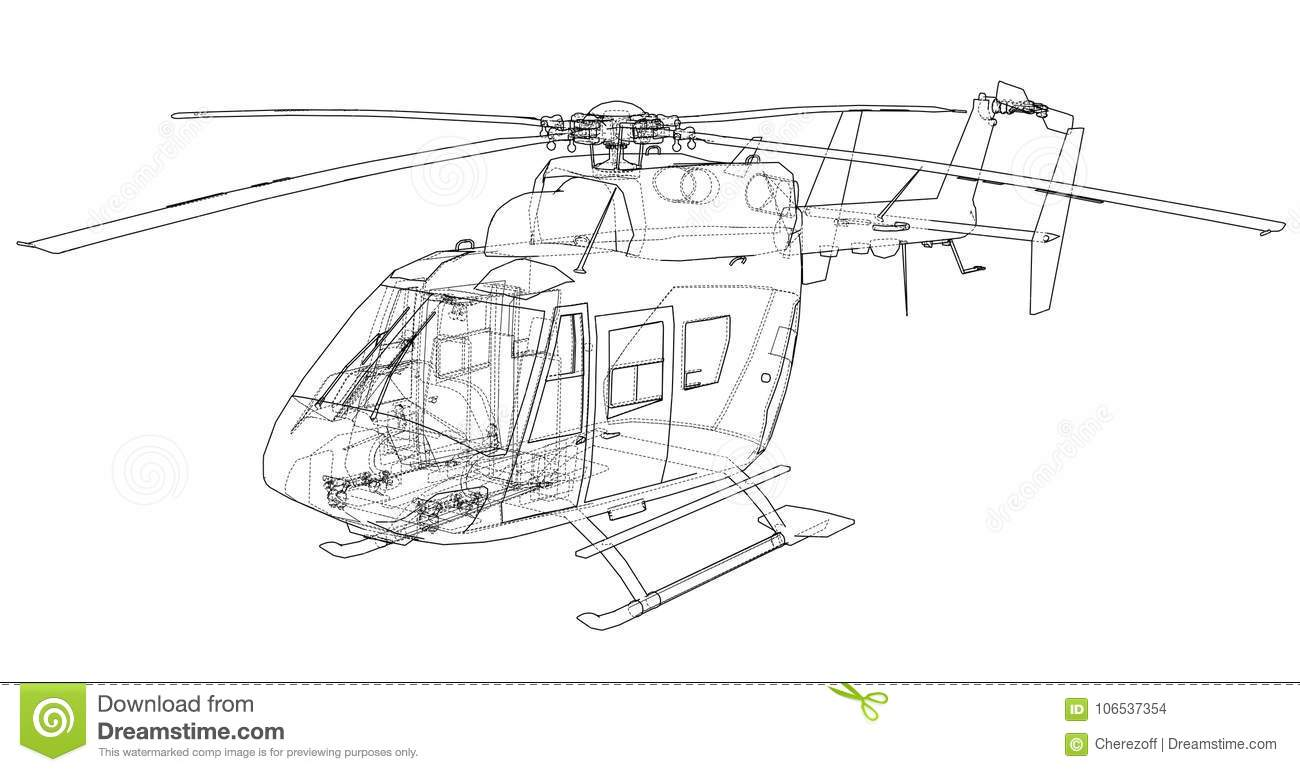 Outline Drawing Of Helicopter Stock Vector