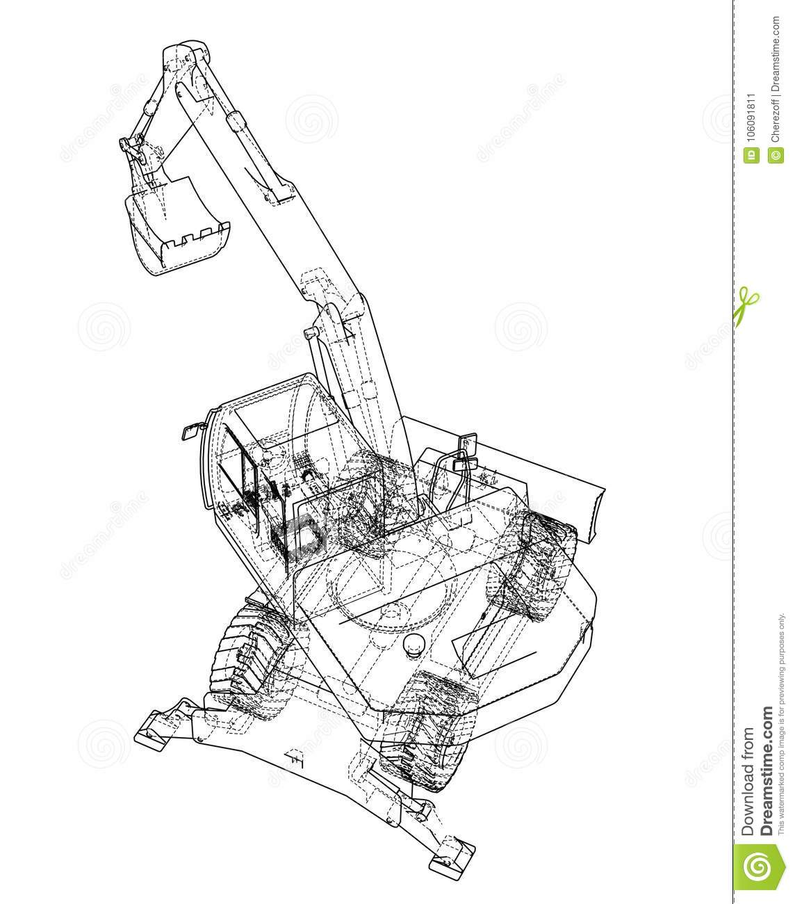 Outline Of Excavator Isolated On White Background Stock