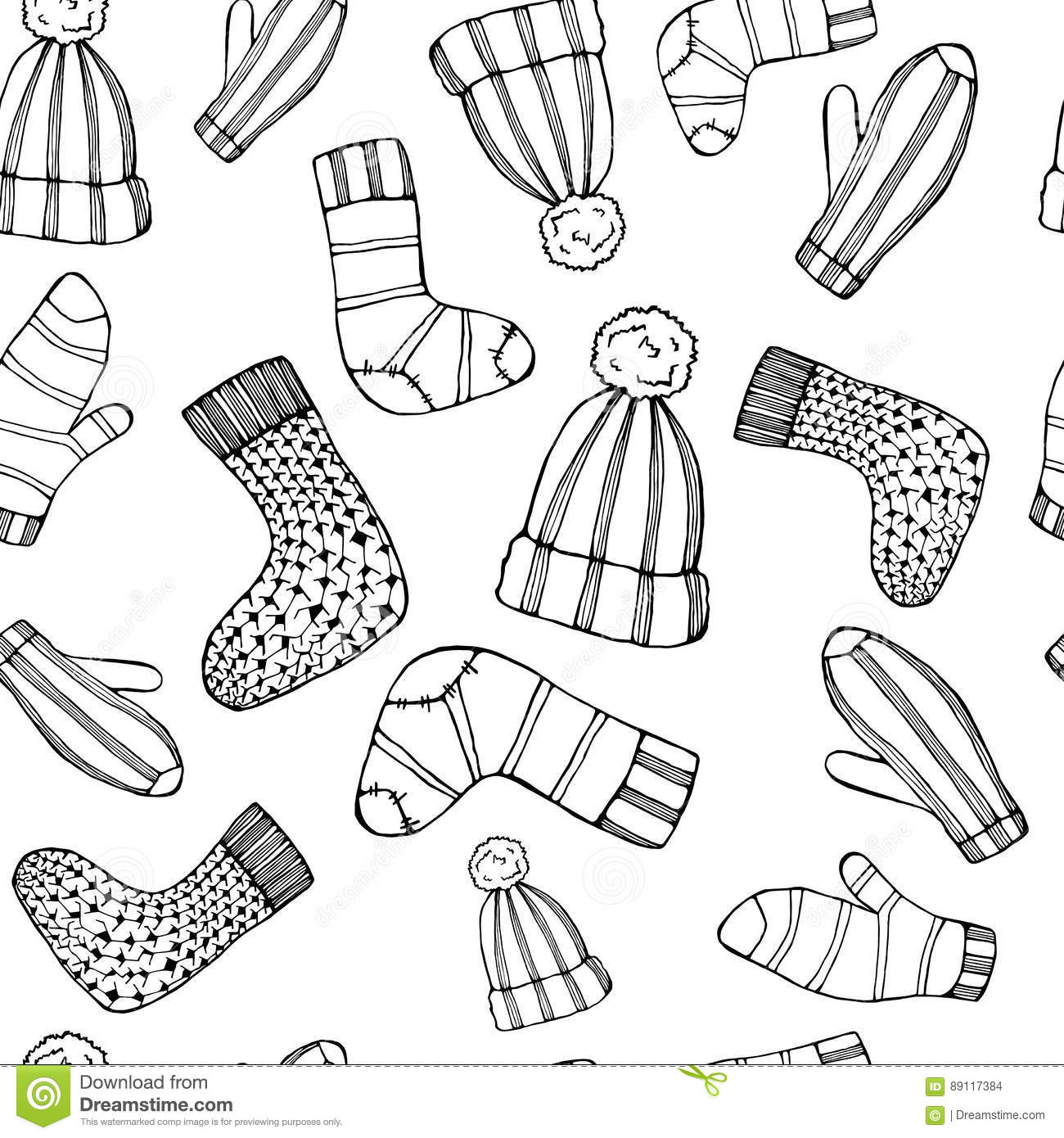 Outline Female Knitted Accessories Seamless Pattern On