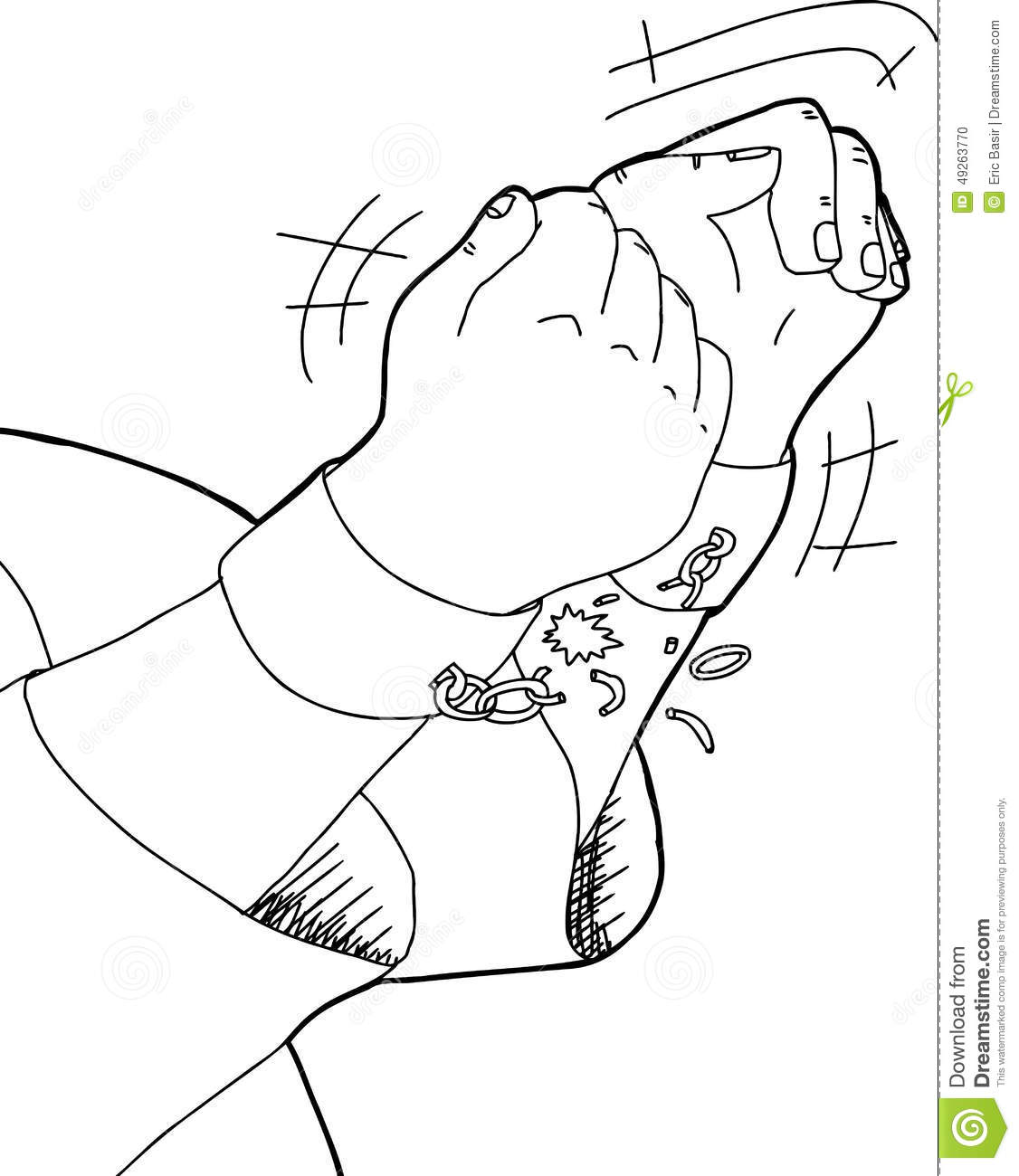 Outline Of Hands Breaking Shackles Stock Illustration