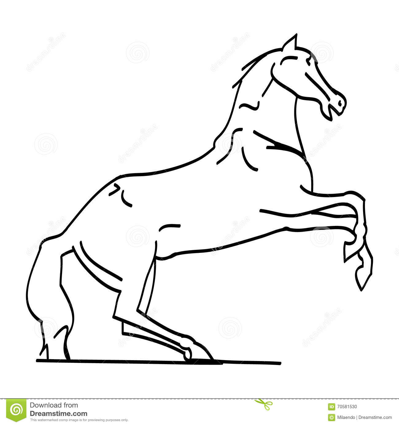 The Outline Of The Horse On Its Hind Legs Stock Vector