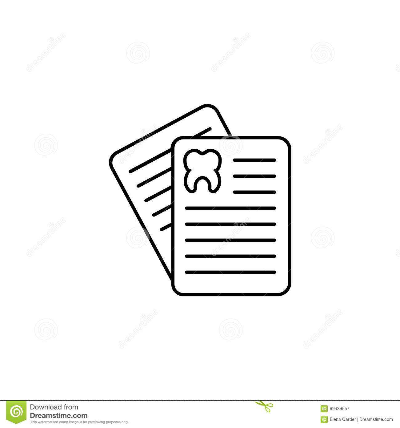 Outline Icon Of Patient Card. Thin Line Signs Of Card For