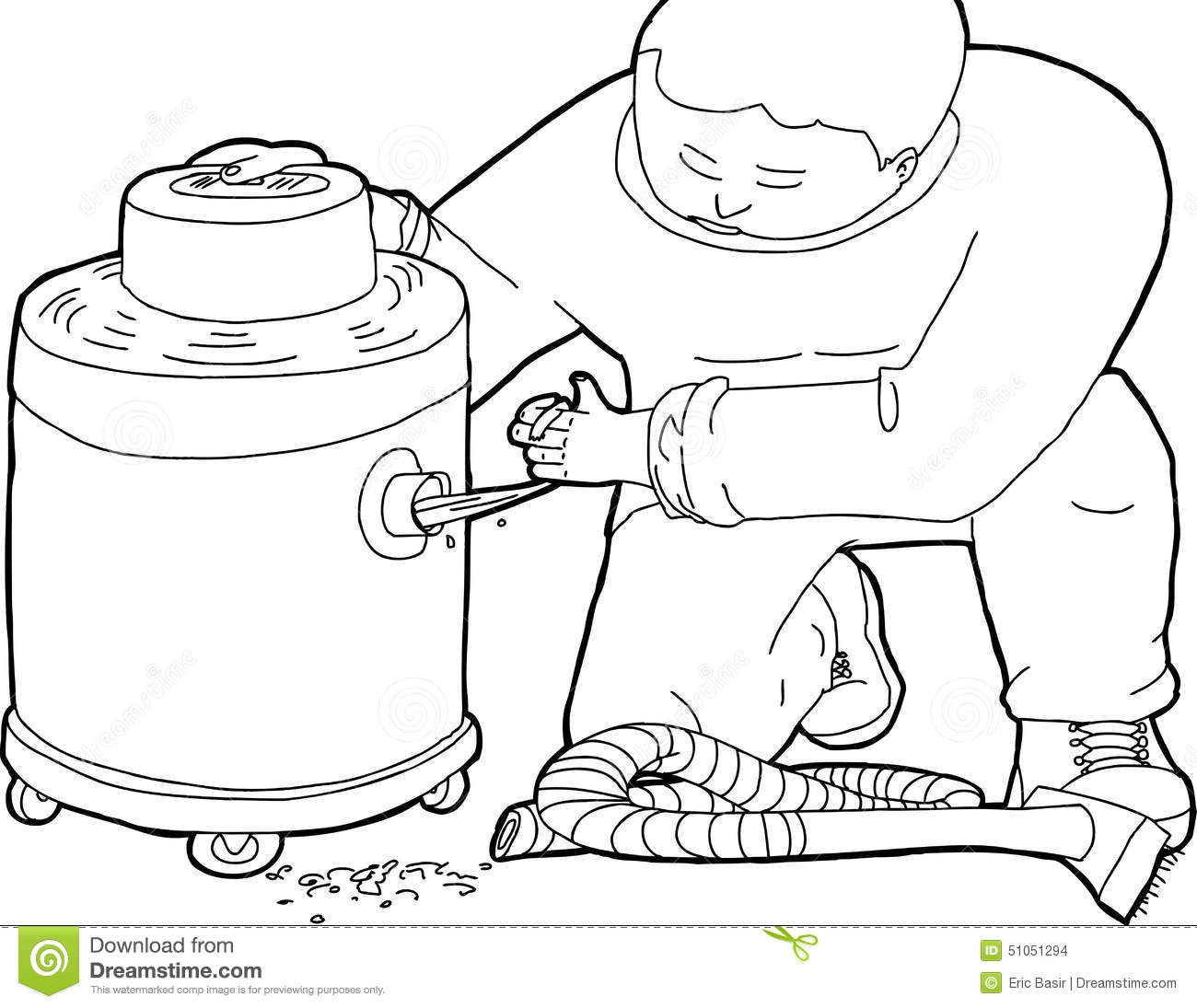 Outline Of Janitor With Clogged Vacuum Stock Illustration
