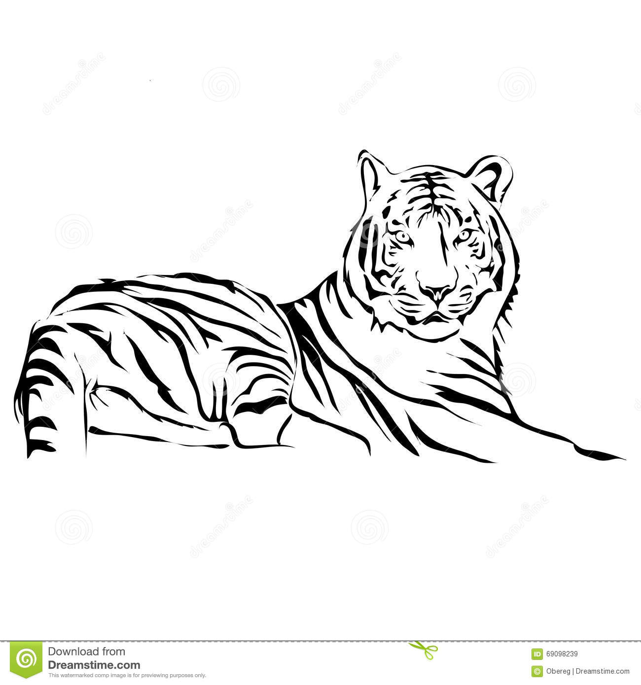 Outline Lying Tiger Vector Image Stock Vector