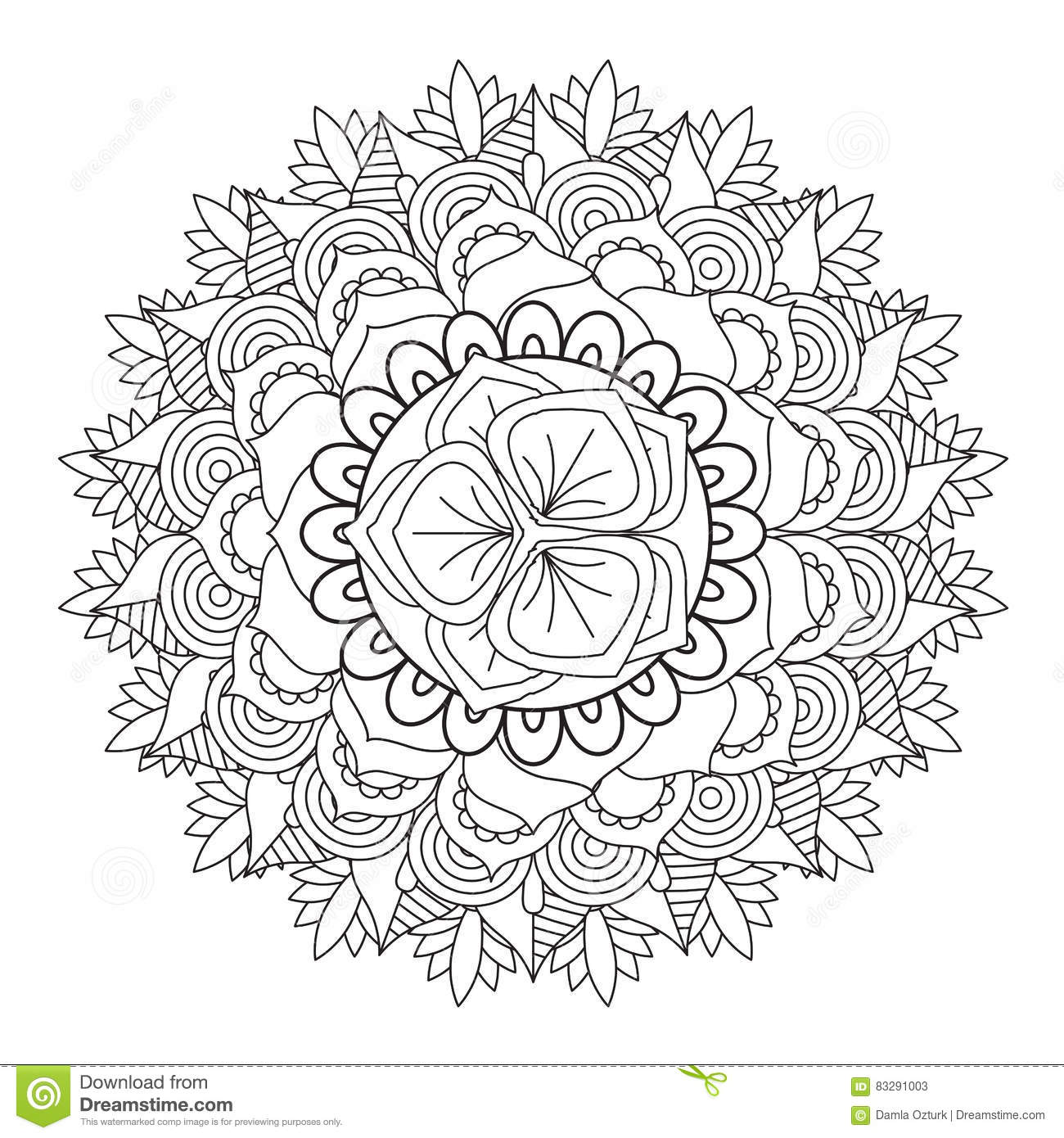 Outline Mandala For Coloring Book. Decorative Round