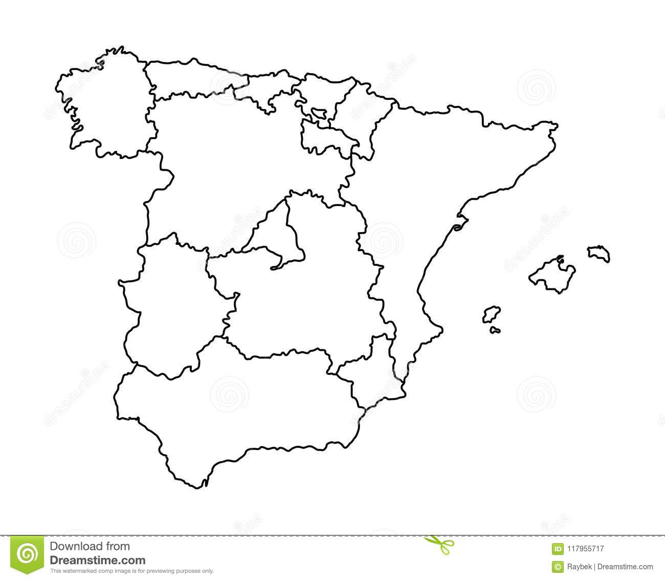 Map Of Spain Stock Illustration Illustration Of Balearic