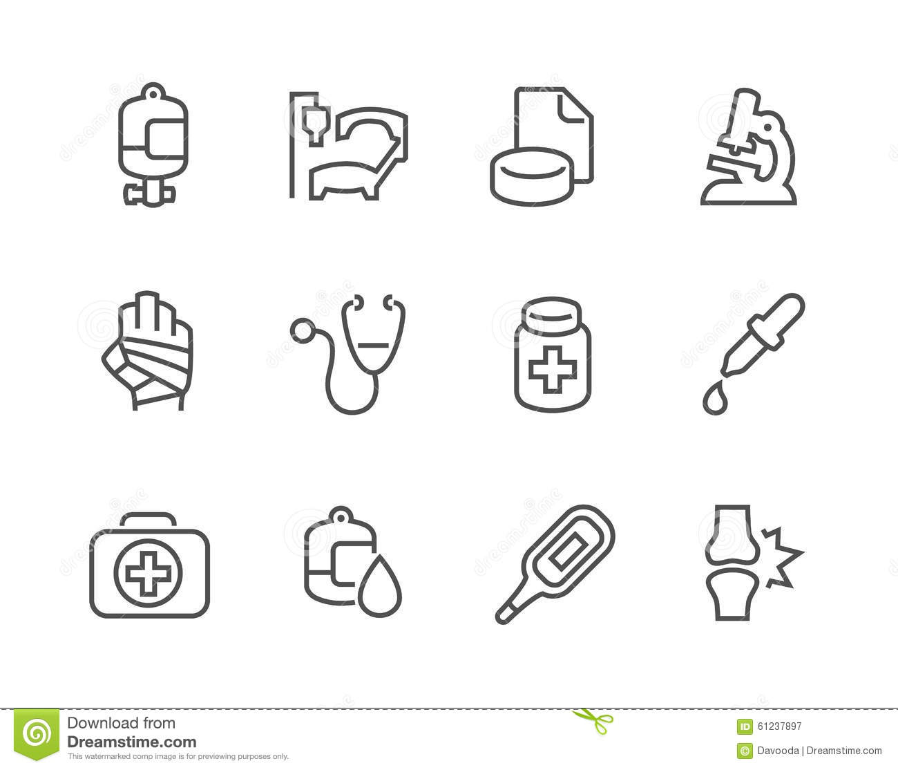 Outline Medical Icons Stock Vector Illustration Of