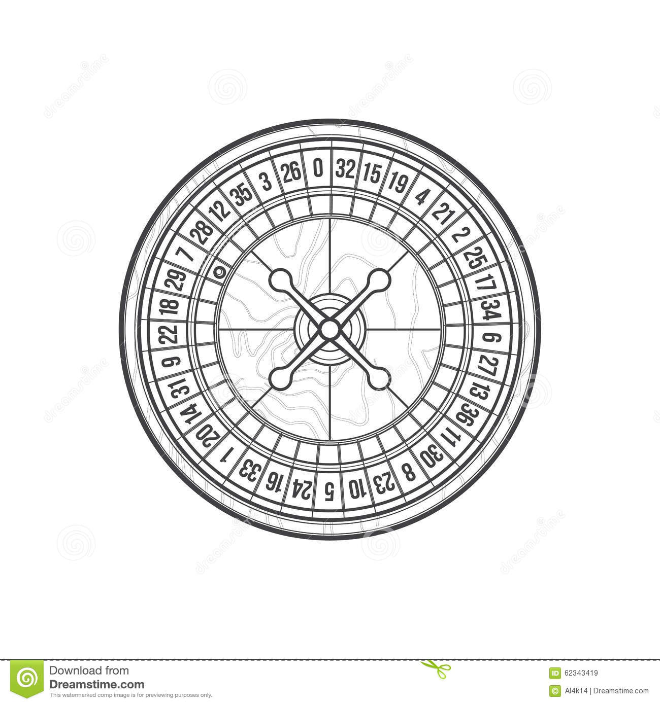 Outline Playing Roulette Icon Illustration Stock Vector