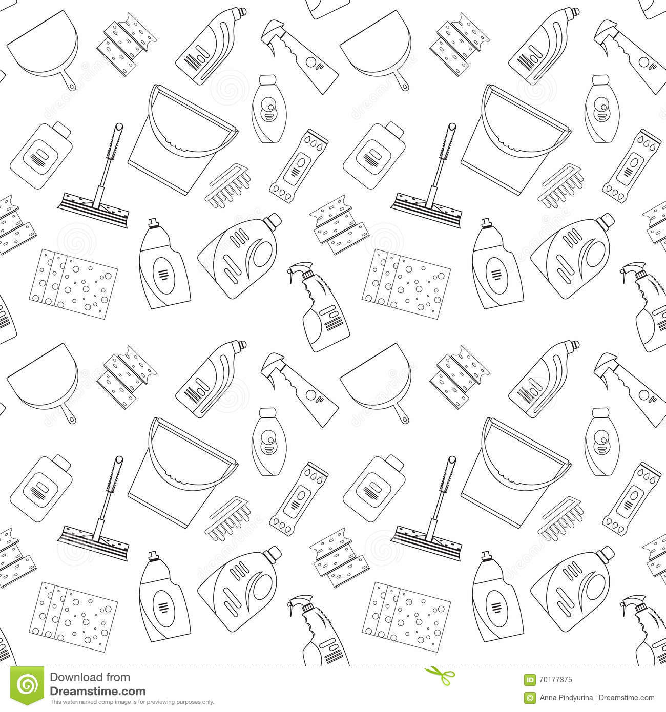 Outline Seamless Pattern With Geometric Figures. Repeated