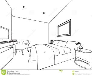Outline Sketch Drawing Interior Perspective Of House Stock Vector Illustration of furniture space: 82698976