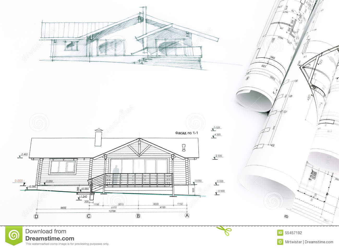 Outline Sketch Of House With Blueprints Stock Photo