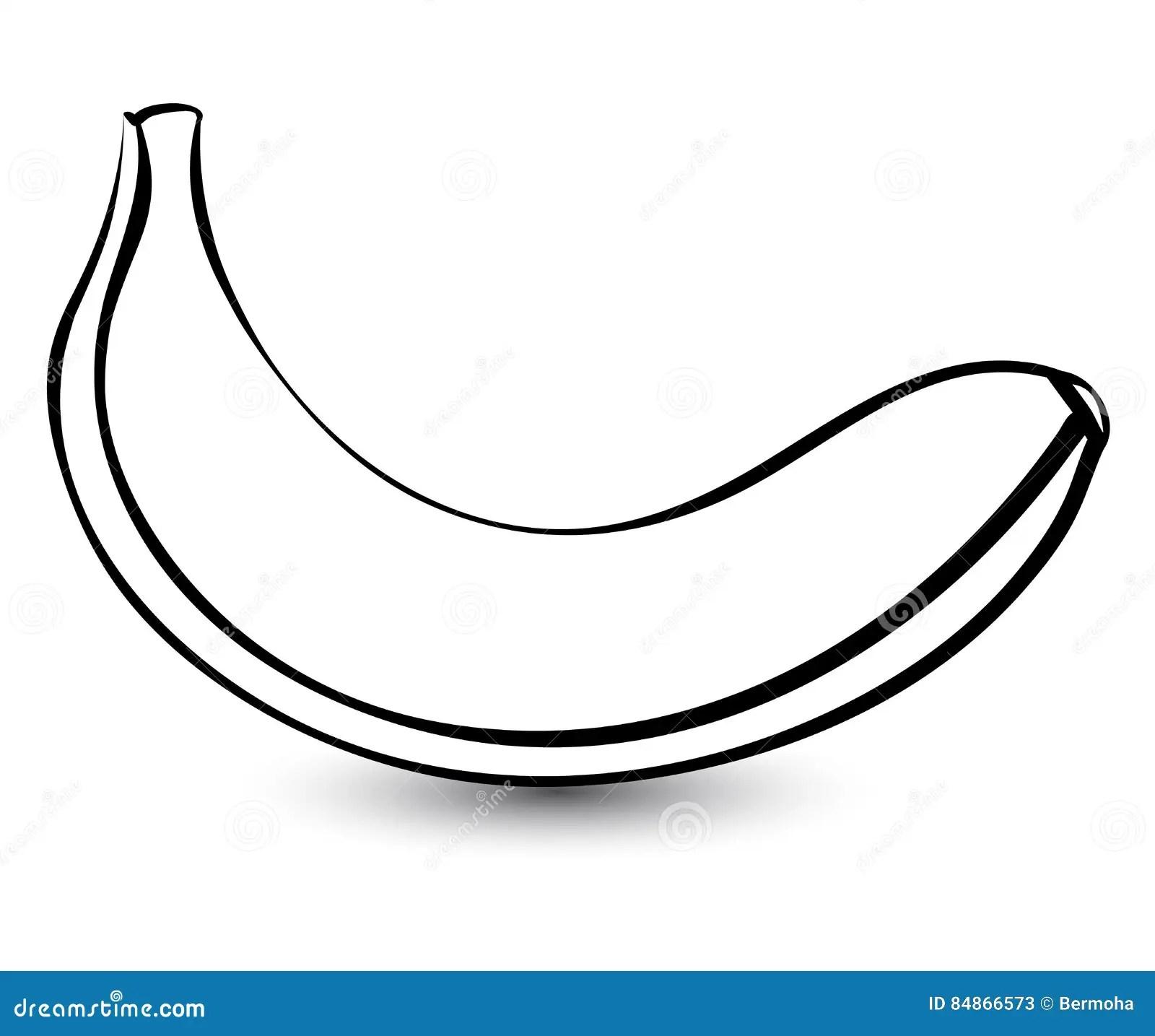 Outline Sketch Monochrome Banana. Cartoon Vector