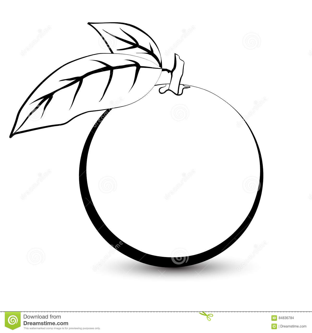 Outline Sketch Of A Monochrome Orange Stock Vector