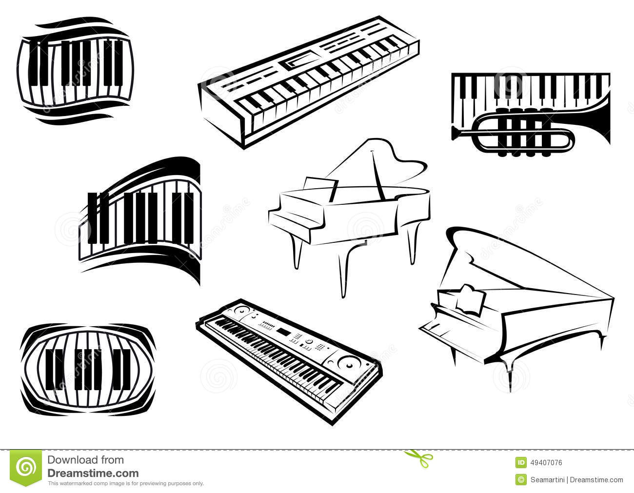 Outline Sketch Piano Music Icons Stock Vector